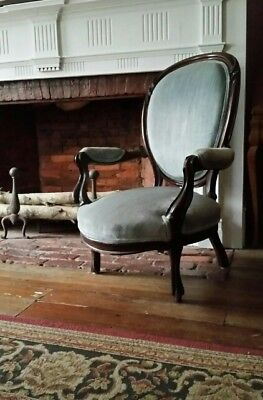antique Victorian upholstered arm chair parlor chair