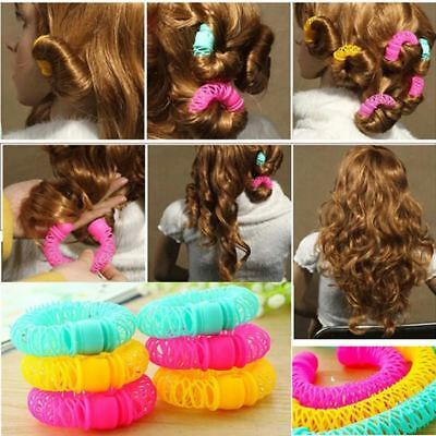 8Pcs Donuts Hair Styling Roller Hairdress Curler Spiral Curls