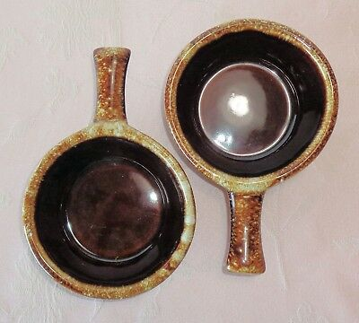 Monmouth BROWN DRIP 2 Handled Bowls 0901 Soup Chili Stew Barely Used
