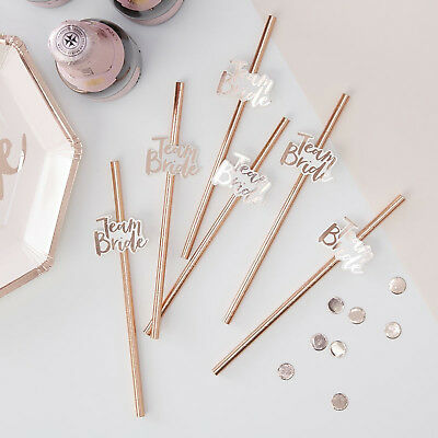 TEAM BRIDE HEN PARTY STRAWS Hen Night Rose Gold Drinks Straws  Sophisticated Hen