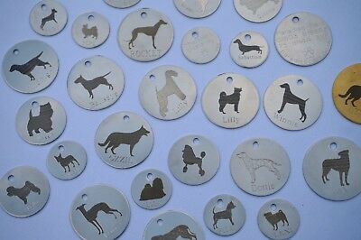 Personalised Dog Id Tags Any Breed Engraved Both Sides 4 Sizes Silver Or Brass