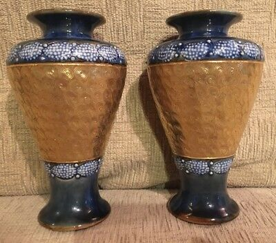 Pair 2 Antique Royal Doulton Vases. Gold Swirls & Blue. G590 -Lambeth Slaters?