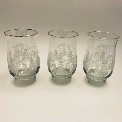 3 Vintage Arby's Libbey Glasses Tumbler White Winter Scene Gold Holiday 1980's