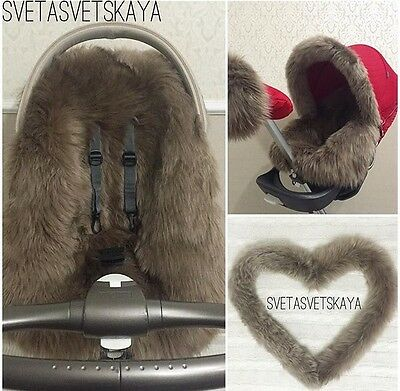Stokke xplory, crusi, trailZ real fur sheepskin canopy rim for custom made
