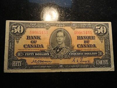 1937 BANK OF CANADA $ 50 FIFTY DOLLARS BC-26a OSBORNE TOWERS A/H 0065455 RARE
