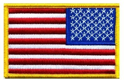 "AMERICAN FLAG EMBROIDERED PATCH REVERSE ""Iron-on"" GOLD BORDER US UNITED STATES"