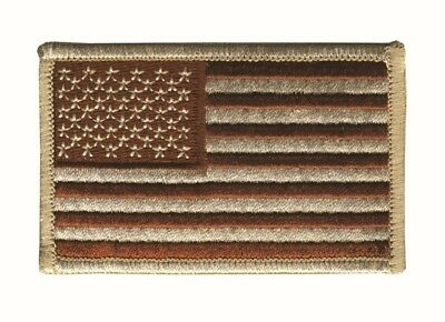 """AMERICAN FLAG EMBROIDERED PATCH """"Iron-on"""" DESERT TAN SUBDUED UNITED STATES"""