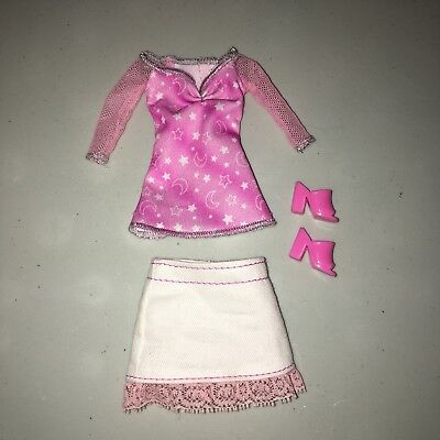 Barbie doll clothes: pink moon/stars shirt, white skirt, and heels
