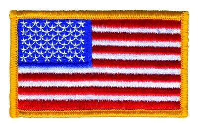 "AMERICAN FLAG EMBROIDERED PATCH ""Iron on"" GOLD BORDER US UNITED STATES MILITARY"