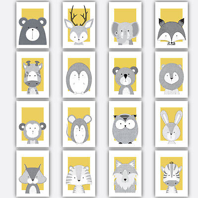 Art Print FOREST ANIMAL SKETCH Picture Poster YELLOW & GREY Nursery Baby Wall