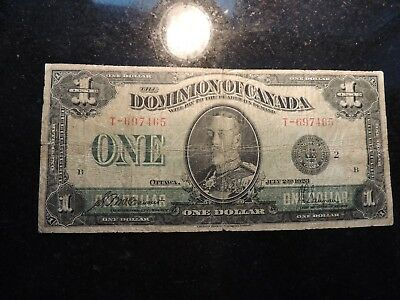 1923 DOMINION OF CANADA $ 1 ONE DOLLAR DC-25f MCCAVOUR SAUNDERS T-697465 BLACK