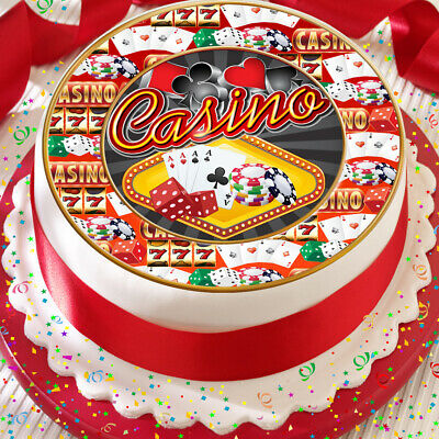 24 X CASINO POKER NIGHT EDIBLE CUPCAKE TOPPERS CAKE WAFER RICE PAPER 9503C