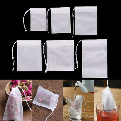 100Pcs Non-woven Empty Teabags String Heat Seal Filter Paper Herb Tea Bags、New
