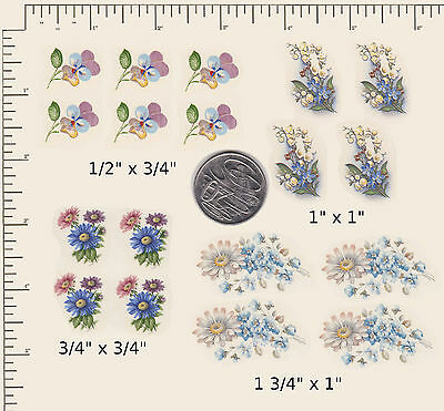 18 x Waterslide ceramic decals Decoupage Blue and Pink Flowers Floral PD26a