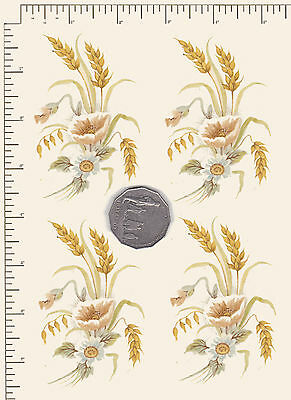 """4 x Waterslide ceramic decal Decoupage Wheat Poppy Floral 3 1/2"""" x 2 1/2"""" PD945a"""
