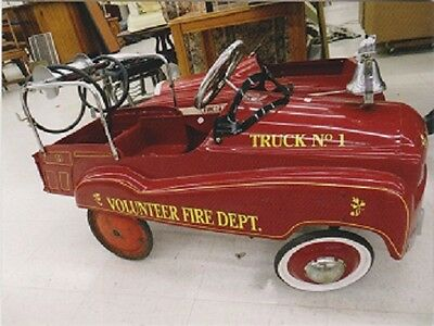 "*Postcard-""Red Pedal Toy Fire Truck""  -Volunteer Fire Dept  /A Picture/ (T6)"
