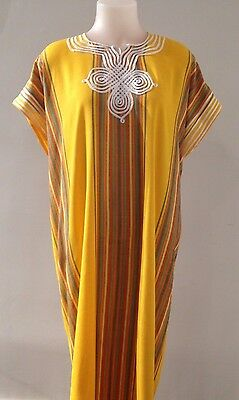 Moroccan Women Arabian Beach Summer/ wedding Caftan Dress Abaya Linen New