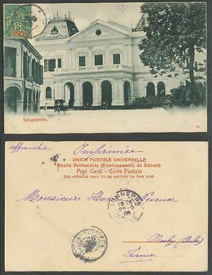 Singapore French India 5c 1906 Old Postcard General Post Office Street Scene GPO