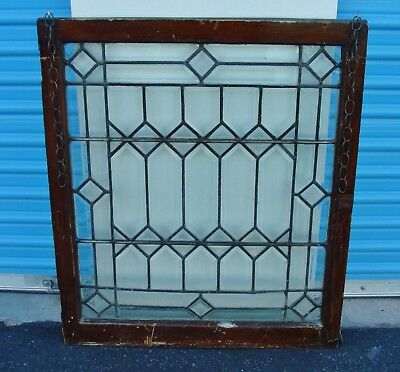 Transom Antique Vintage Beveled Lead Glass Window