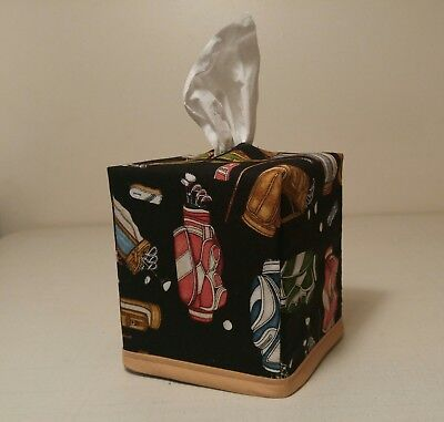 New!!  Golf Print Tissue Box Cover (square) Handmade