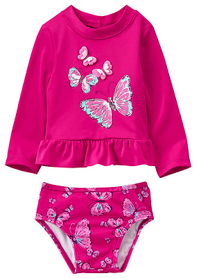 NEW NWT Girls Gymboree Pink BUTTERFLY Wings Rashguard LS Swimsuit Swim Suit 2T 2
