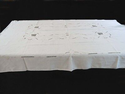 Vintage Tablecloth - Linen, With Embroidery and Cut Work, Rectangular, Pale Ecru