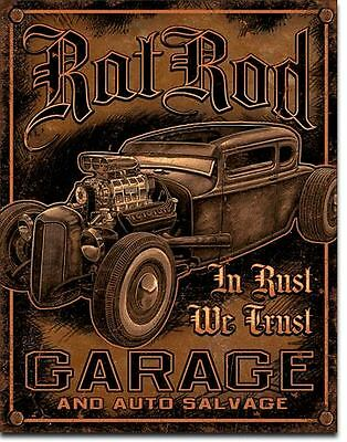 Ratrod Garage Tin Sign Hotrod Ford Rustic Shed Chev