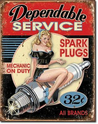 Dependable Service Mechanic On Duty Tin Sign Garage Shed Hotrod