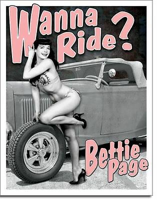 Bettie Page Wanna Ride? Tin Sign Garage Shed Hotrod Nostalgic