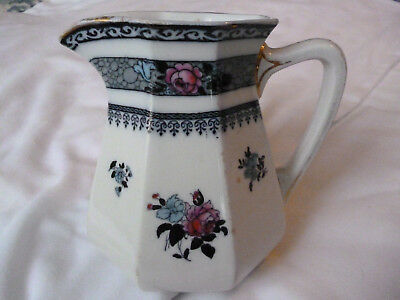 Keeling & Co Burslem Losol Art Nouveau Deco Blue White Pink Ormonde jug