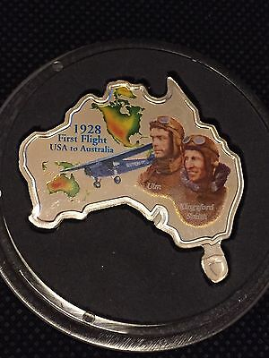 2009  $1 Tuvalu 1928 First Flight USA To Australia 1oz Silver Proof Coin.