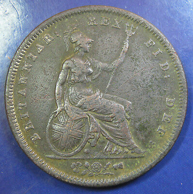 1827 1d George IV copper Penny - a decent example of an Extremely Rare coin