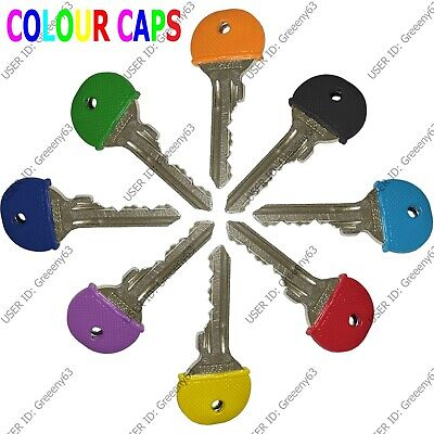 10 x Coloured Key Top cover Caps Assorted Head Covers ID Tag Cap Ring Keyring