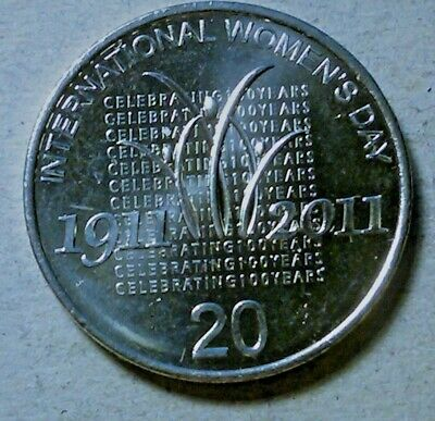 Australia 20 Cents 2011 International Women's Day March 8th Girl Power Gift unc