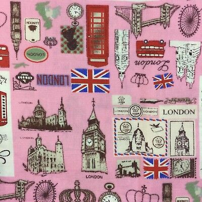 """100% 45"""" Craft Cotton Poplin Printed Fabric City Of London Theme Also Face Mask"""