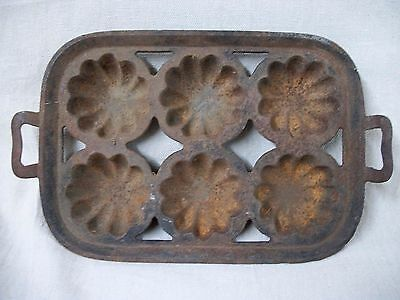 Antique Cast Iron Turks Head 6 Cup Open Frame Muffin Pan w/ Gate Mark