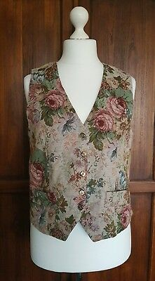 """Vintage ❤ Rose Floral Gold Tapestry Front Waistcoat Size 16 38"""" Bust Steampunk"""