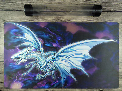 YuGiOh Blue-Eyes Alternative White Dragon Custom Playmat TCG Mat Free Best Tube