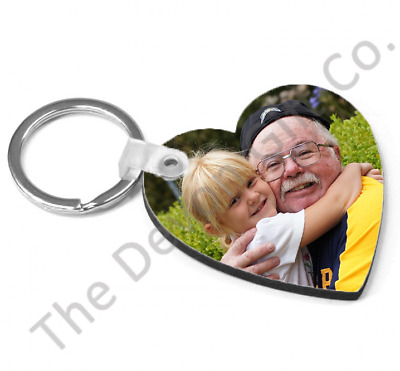 Personalised Photo Keyring Heart Double Sided Photo Or Add A Message To The Back
