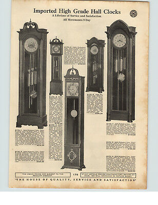 1929 PAPER AD Imported Hall Floor Grandfather Clocks Mahogany Case 80""