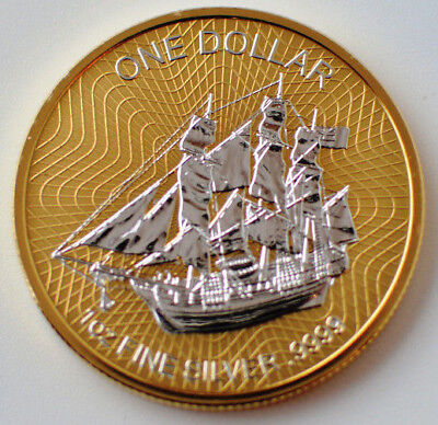 2017 Cook Islands Sailing Bounty 1 Oz .999 Silver Full Gold Gilded Coin