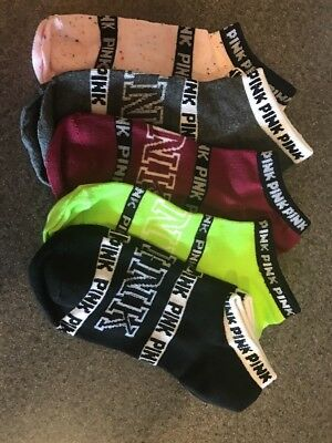 5 Pairs Victoria's Secret Pink No Show Socks Love VS Pink