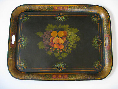 "Large Antique Hand Painted Metal Toleware Tray 26"" X 19"" Fruit & Flowers"