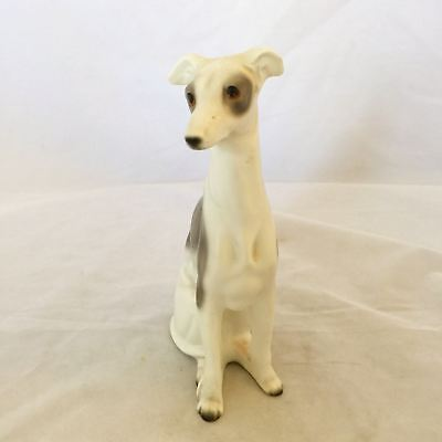 Vintage Hand Painted Small Porcelain Grey and Cream Whippet Dog $15