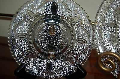 Vintage HERITAGE by FEDERAL GLASS CO 9 pc Set Serving Bowl 4 Plates 4 Sm Plates