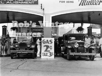 Vintage Cheap Gas Service Station 2 cent gas 3 cent tax photo  1920s