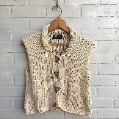 Vintage Sweater Vest Womens Knit Funky Buttons 90s Cream