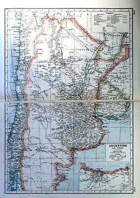 Vintage Antique Original 1920 Print Map Of Argentina And Chile Railways
