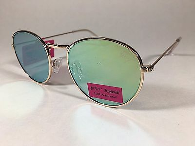 884a81b15 New Authentic Betsey Johnson Sunglasses Retro Round Gold Wire Blue Yellow  Mirror