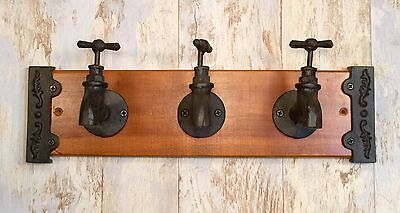 Cast Iron & Wood 3-Faucet Spigots Wall-Mount Vintage Coat/Towel Rack Holder